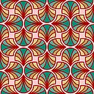 Geometric Pattern: Art Deco: Curve: Turquoise by * Red Wolf