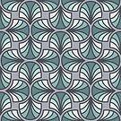 Geometric Pattern: Art Deco: Curve: Seafoam by * Red Wolf