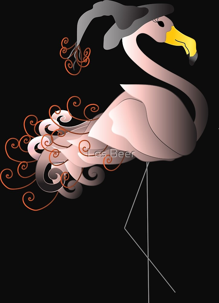 Witch,Witch Flamingo Witch by Les Beer