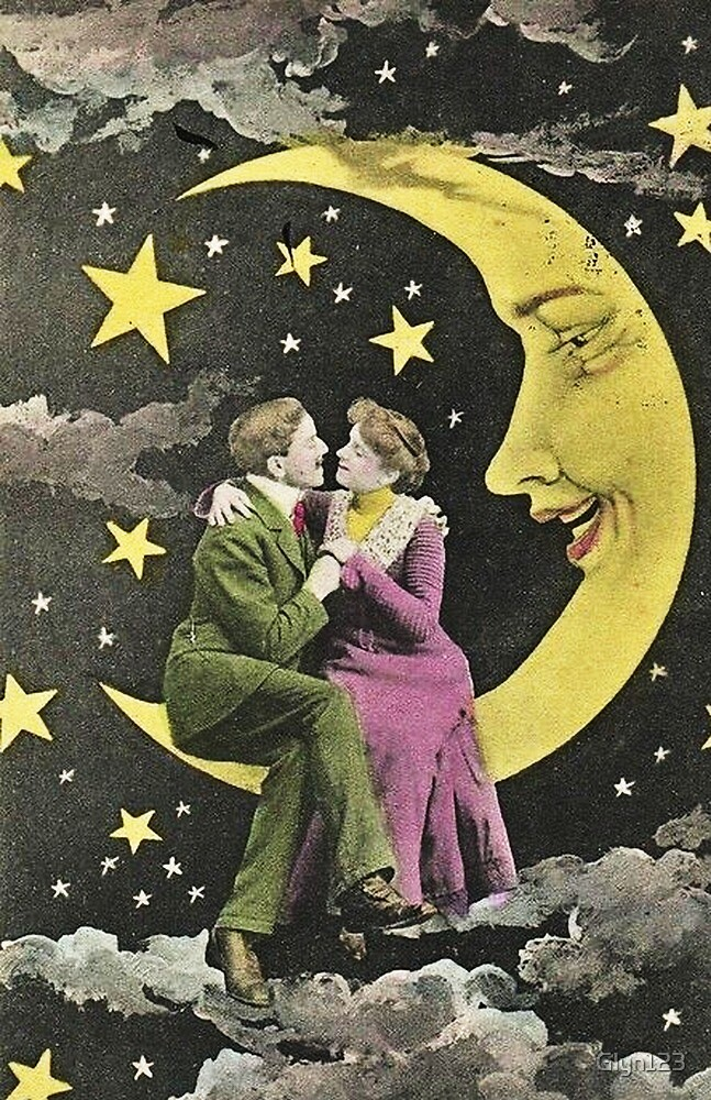 Moon and Back - Valentine Love Couple Victorian Photo by Glyn123