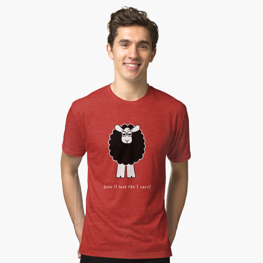 Look Like I Care Sheep - white text Tri-blend T-Shirt Front