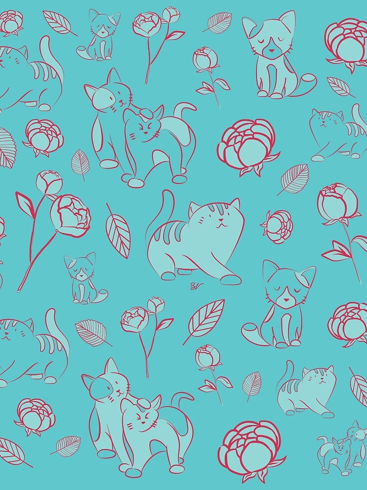 Cats and Peony turquoise by BlueVein