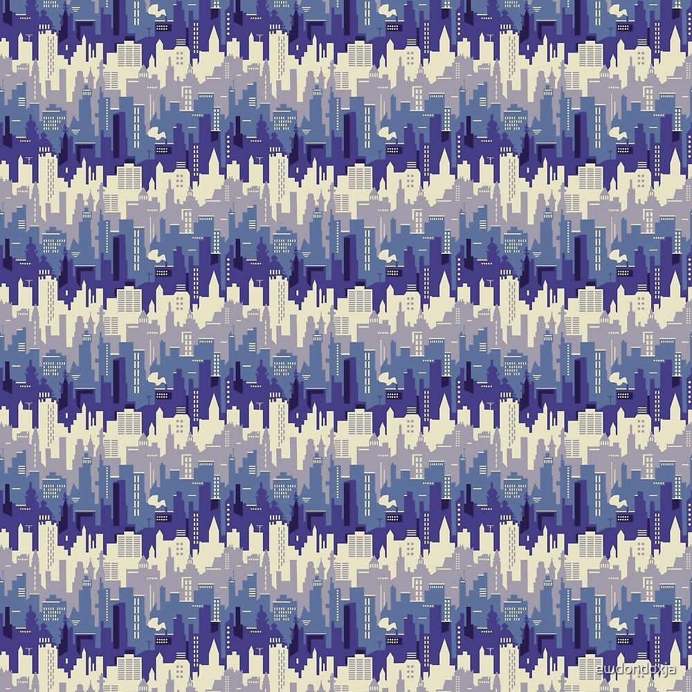 Amethyst abstract night city pattern by ewdondoxja