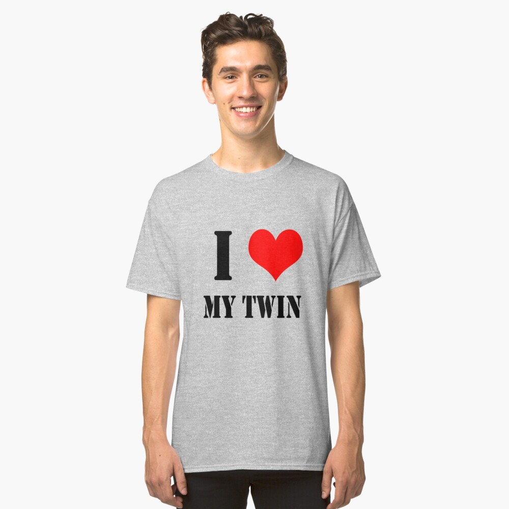I Love My Twin Design lettering with heart Classic T-Shirt Front