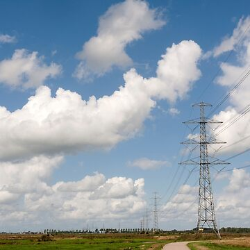 Roderwolde The Netherlands Electricity pylons over the Drenths countryside. by stuwdamdorp