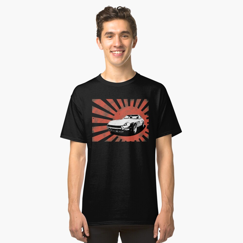 Datsun 240Z on a weathered rising sun Classic T-Shirt Front
