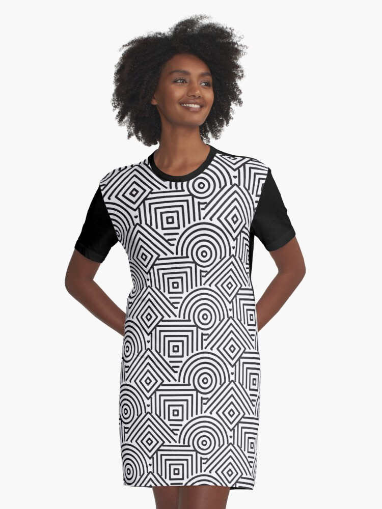 Abstract Geometric Black and white Graphic T-Shirt Dress Front