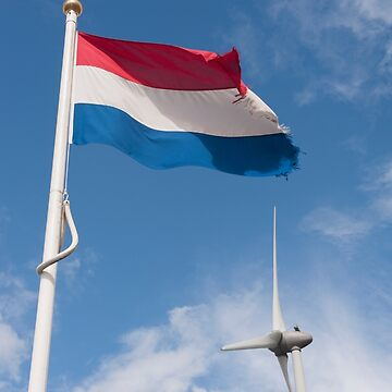 The Netherlands Dutch flag and wind turbine. Nederlands vlag en wind turbine. by stuwdamdorp