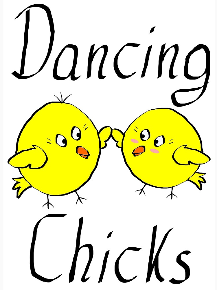 Dancing Chicks drawing graphic gift birthday gift idea vegan dancing by Johnny1990