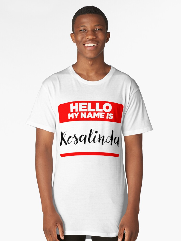 My Name Is Rosalinda - Introduction Hipster Sticker Tag Long T-Shirt Front