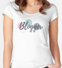 Blogger - dark grey text with bubbles & white background Fitted Scoop T-Shirt