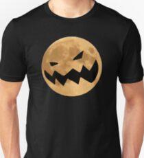 Halloween Mond mit Kürbis Horror Fratze Unisex T-Shirt