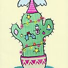 Sad Festive Angel on a Christmas Cactus by zoel