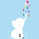 Baby elephant and bird  by grafart