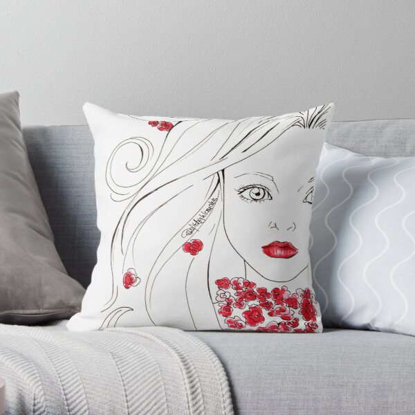 Flower girl in red Throw Pillow