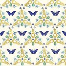 «Crow Skulls and Butterflies Pattern # 2 - Azul y oro» de Johanna-Draws