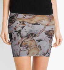 BULLIE CART Watercolour of Bull Terriers Pulling a Cart! Mini Skirt