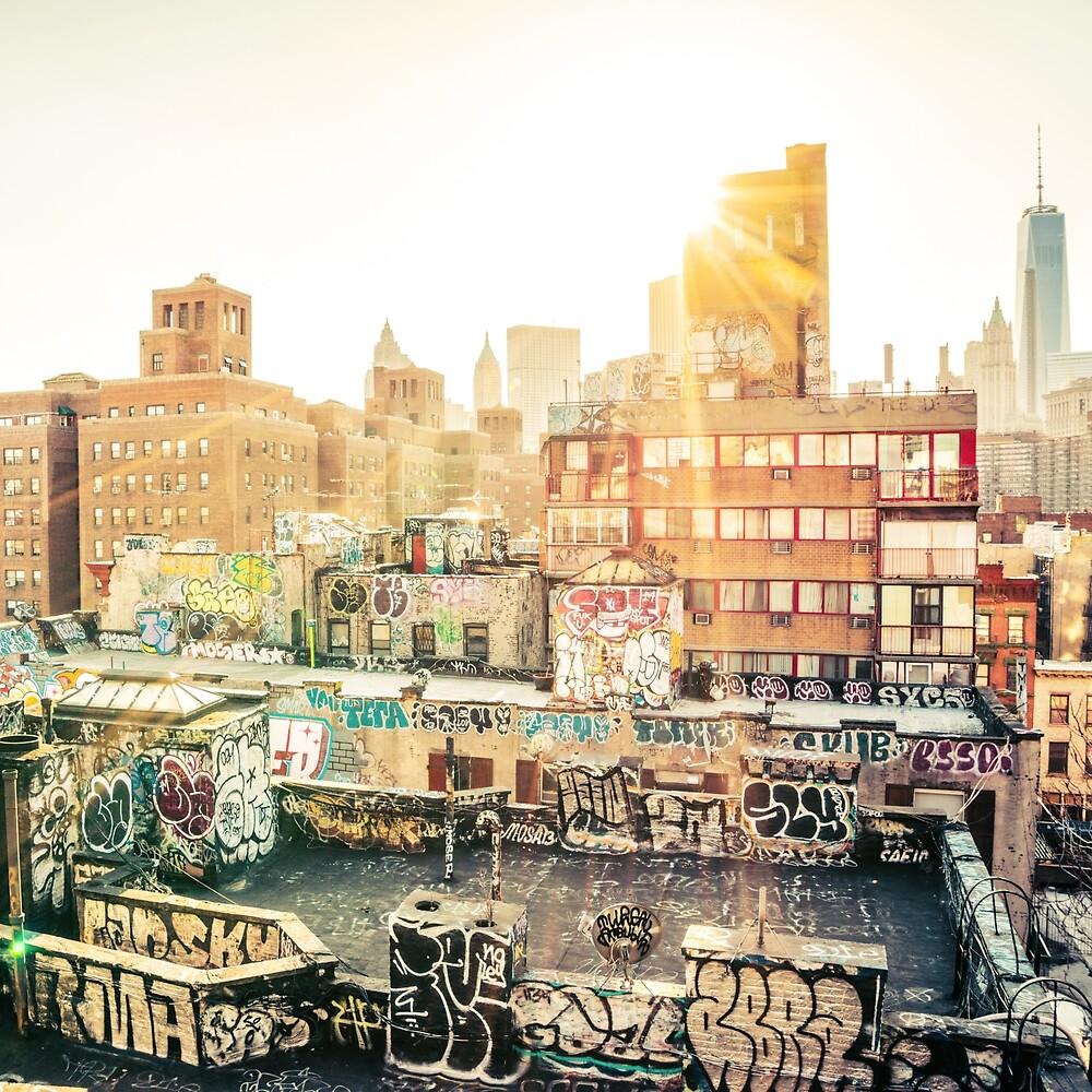 Graffiti Rooftops at Sunset - Chinatown - New York City\