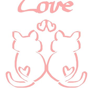 Love Cat Drawing Graphic Cat Gift Birthday by Johnny1990