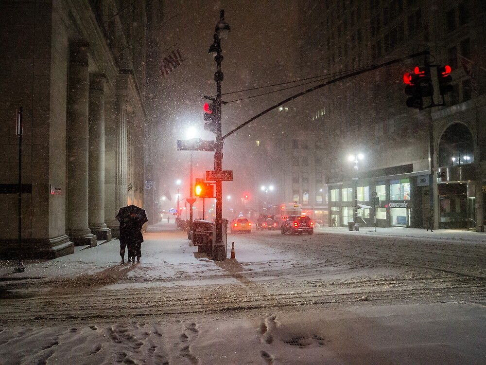 Winter Romance - Snowy Night in New York City by Vivienne Gucwa