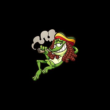 Weed Smoking Frog | STICKER & T-SHIRT by cruxdesigns