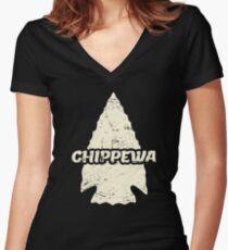 Native American Chippewa Ojibwe Women's Fitted V-Neck T-Shirt
