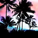 Tropical Summer Palm Trees Pink Blue Sunset Sky by Blkstrawberry