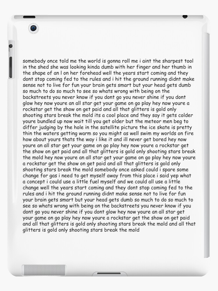 'Smash Mouth - All Star lyrics' iPad Case/Skin by munkedyr123