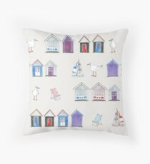 Beach Huts, Bournemouth - on grey - original watercolour pattern by Cecca Designs Throw Pillow