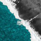 Modern Artsy Teal Blue Black Ocean Beach Waves by Blkstrawberry