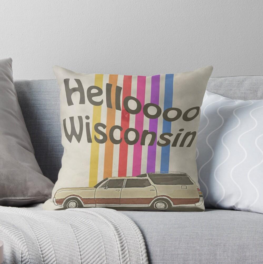 Hello Wisconsin Throw Pillow