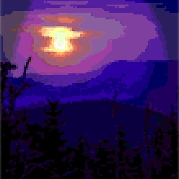Pixel Art - Sunset Over Mountains by Grathicks