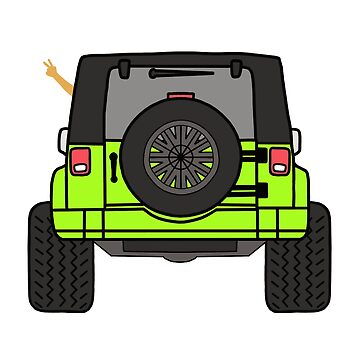Jeep Wave Back View - Lime Green Jeep by indicap