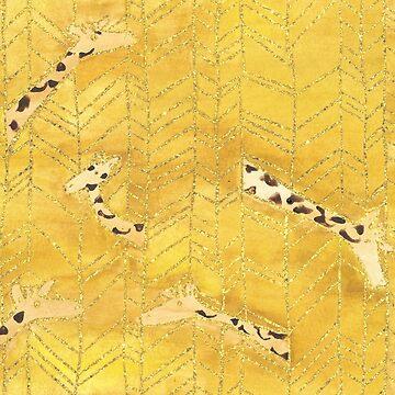Golden Giraffe Herringbone  by TooCoolUnicorn