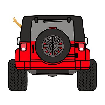 Jeep Wave Back View - Red Jeep by indicap