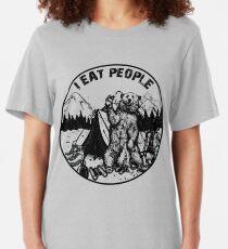 Camping Shirt Hiking I Hate People I Eat People Bear Tshirt Slim Fit T-Shirt