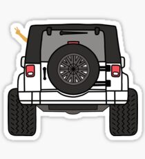 Jeep Wave Back View - White Jeep Sticker