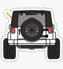 Jeep Wave Back View - White Jeep Sticker