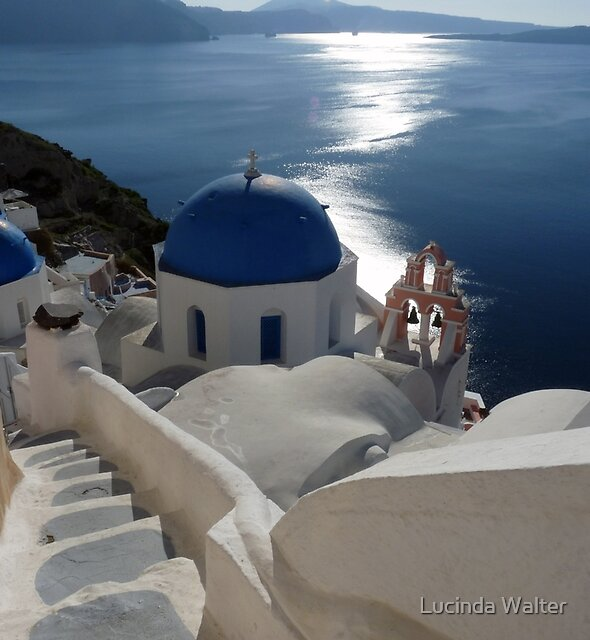Stairway to Blue Domed Church by Lucinda Walter