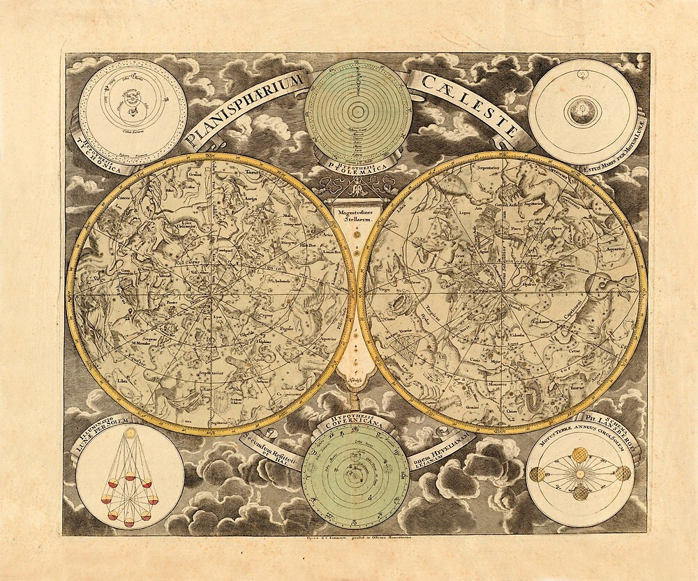 Vintage Celestial Map 1750 by mollyfare