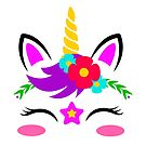 Cute Cartoon Floral Pink Spring Star Unicorn by Bubble-Designs