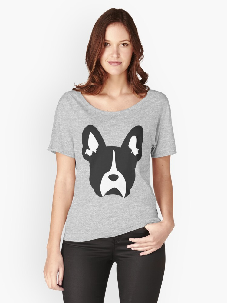 French Bulldog Outline | Minimalistic Frenchie Women's Relaxed Fit T-Shirt Front