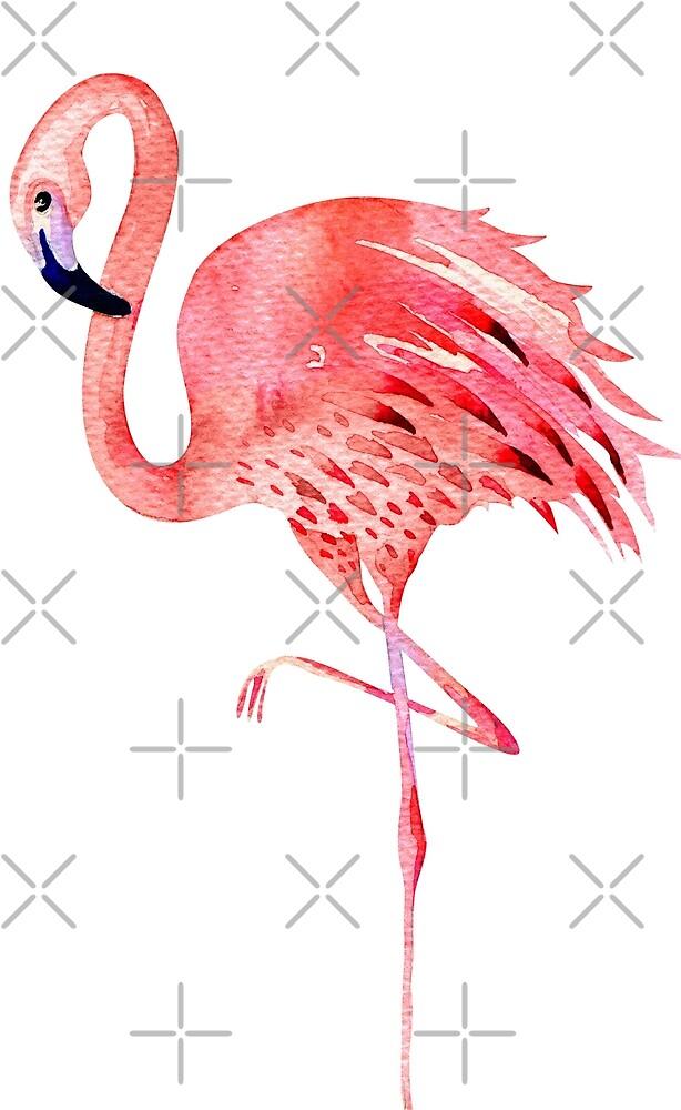 Pink Flamingo in Coral Orange Shade, Watercolor  by PixDezines