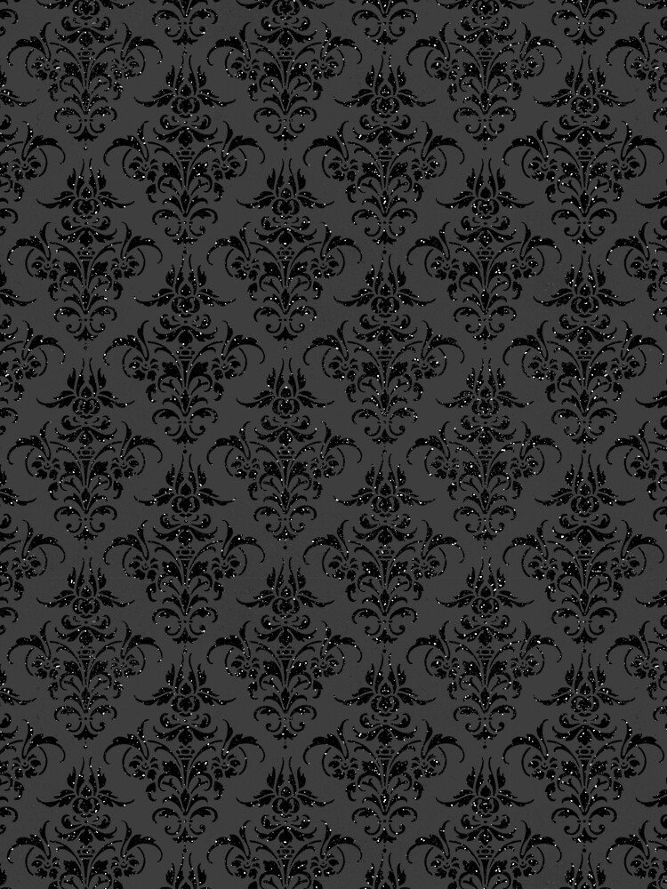 Black On Black Gothic Glitter Look With Floral Filigree Pattern by jollypockets