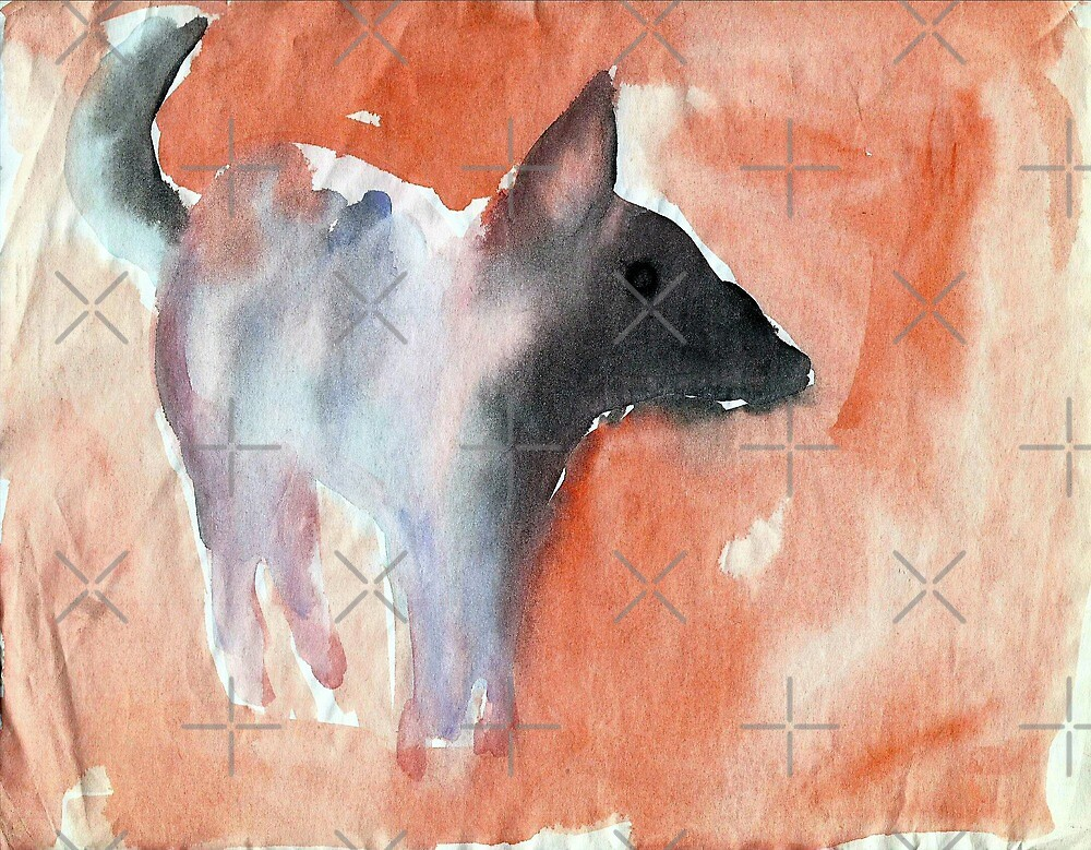 watercolor dog by mauriciodelos