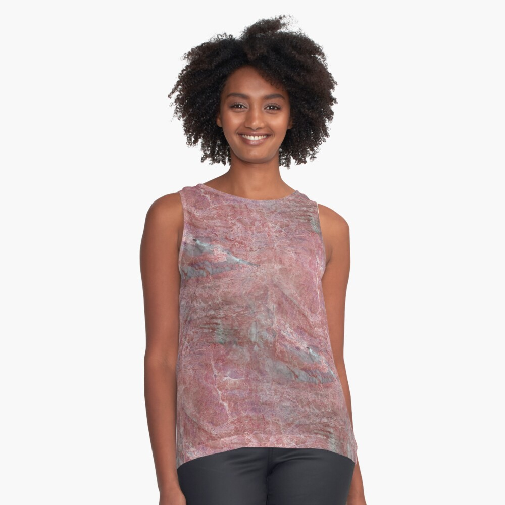 Alfetto Rosso Rust Orange And Grey Marble Pattern Contrast Tank Front