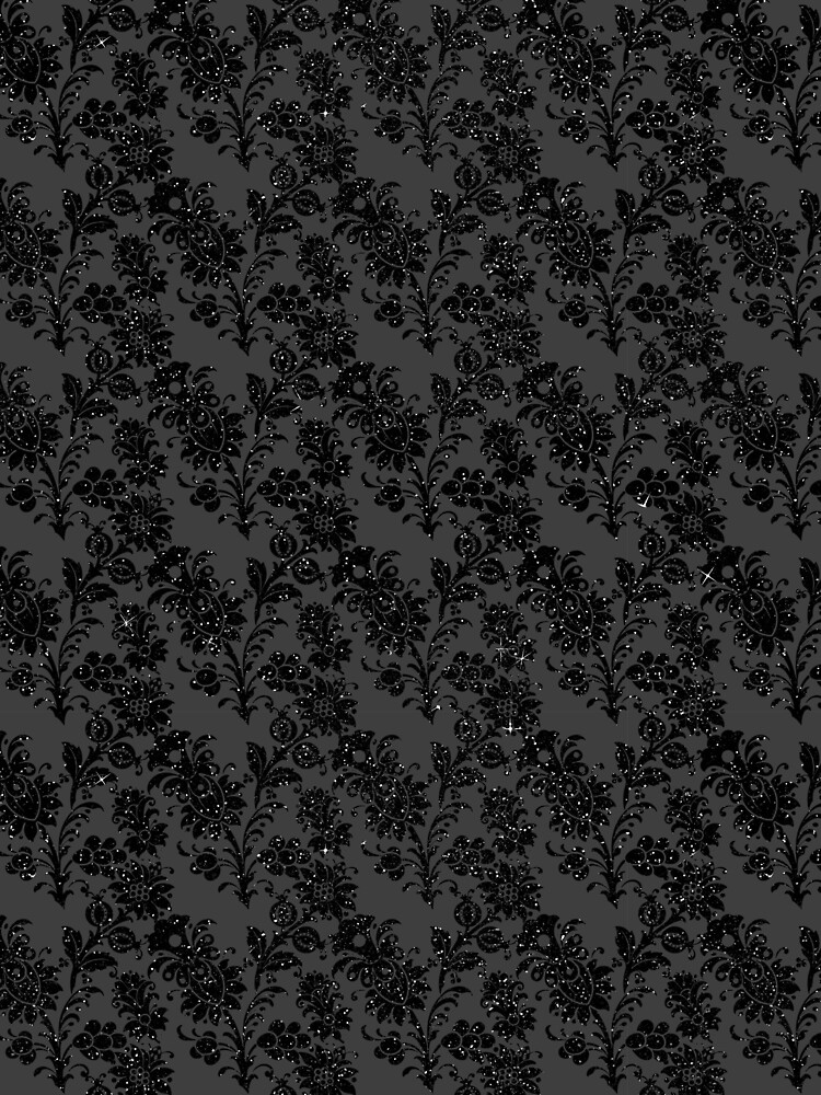 Black On Black Gothic Glitter Look With Big Floral Pattern by jollypockets