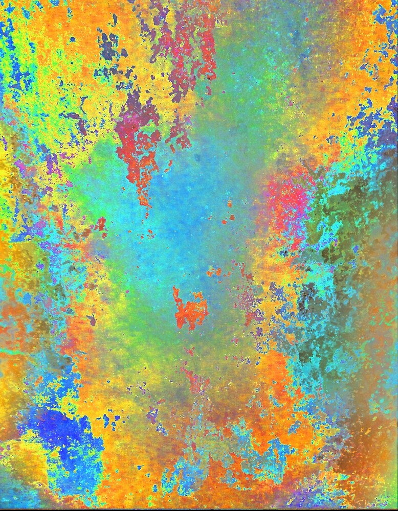At Dawnlight - Digital Abstract Splatter Painting Gold, Blue, Orange, Red by artandsoul38
