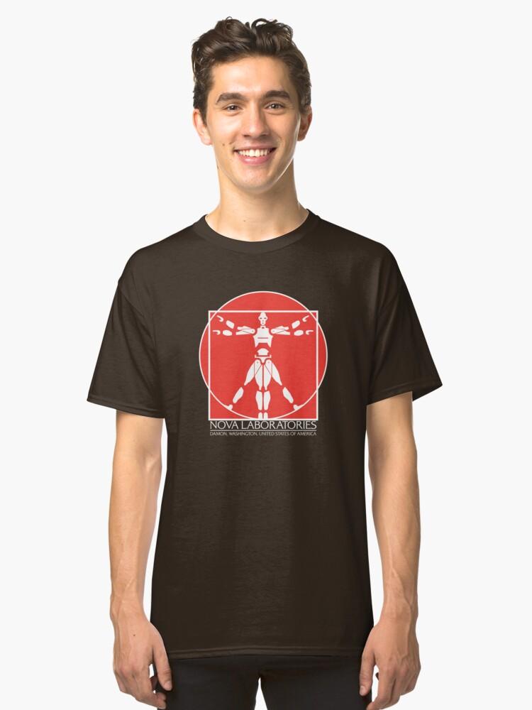Nova Laboratories White Text Classic T-Shirt Front