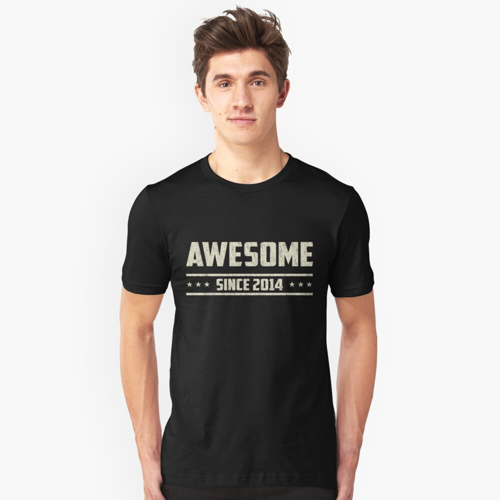 Awesome Since 2014 - Vintage 2014 - Wedding Anniversary - Celebration Gifts Unisex T-Shirt Front